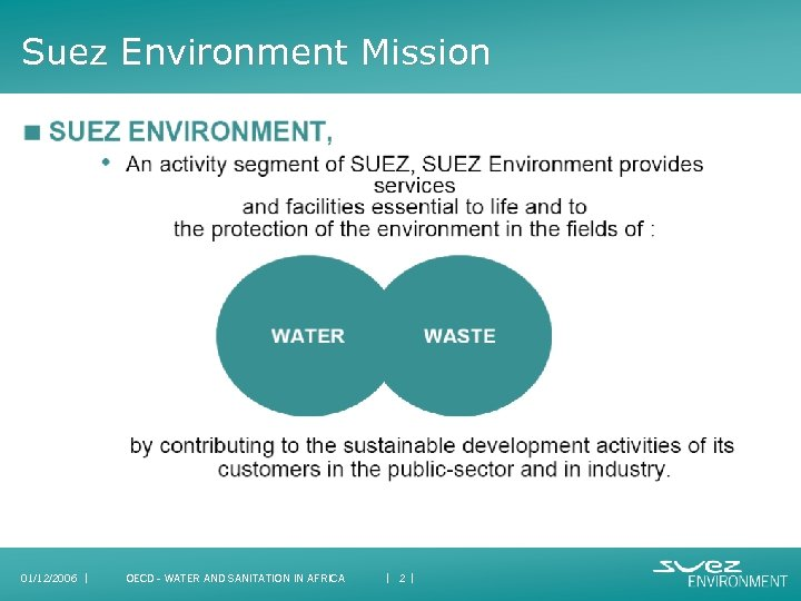 Suez Environment Mission 01/12/2006 I OECD - WATER AND SANITATION IN AFRICA I 2