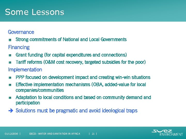 Some Lessons Governance Strong commitments of National and Local Governments Financing Grant funding (for