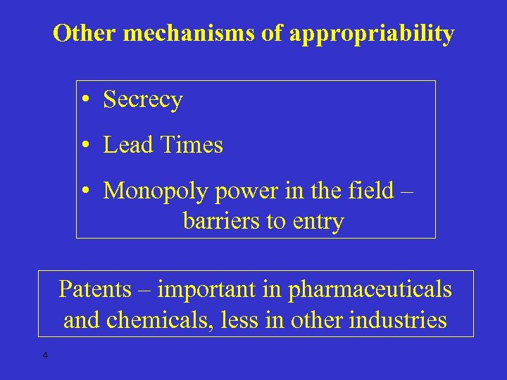 Other mechanisms of appropriability • Secrecy • Lead Times • Monopoly power in the