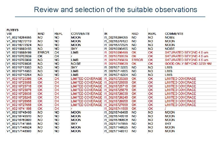 Review and selection of the suitable observations