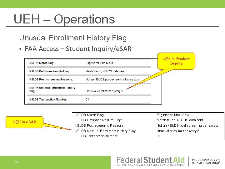 UEH – Operations Unusual Enrollment History Flag • FAA Access – Student Inquiry/e. SAR