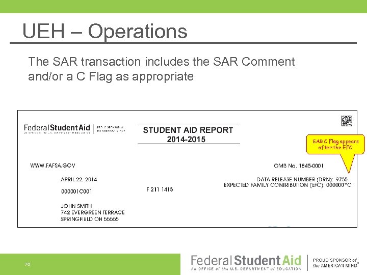 UEH – Operations The SAR transaction includes the SAR Comment and/or a C Flag