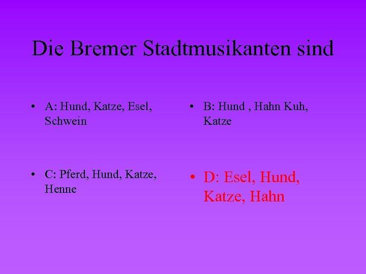 Die Bremer Stadtmusikanten sind • A: Hund, Katze, Esel, Schwein • B: Hund ,