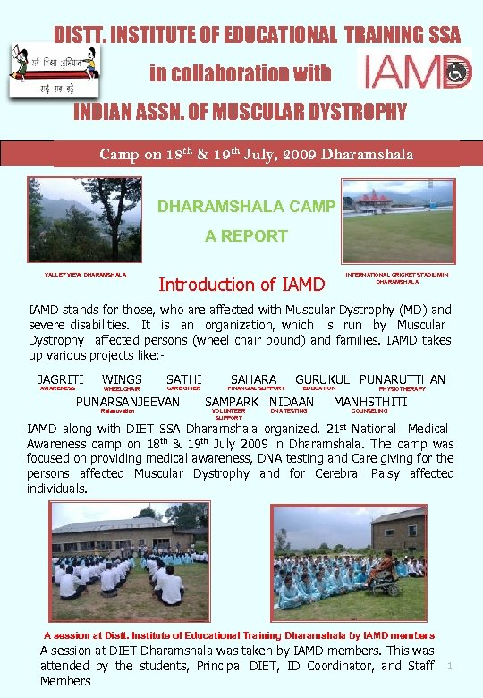 DISTT. INSTITUTE OF EDUCATIONAL TRAINING SSA in collaboration with INDIAN ASSN. OF MUSCULAR DYSTROPHY