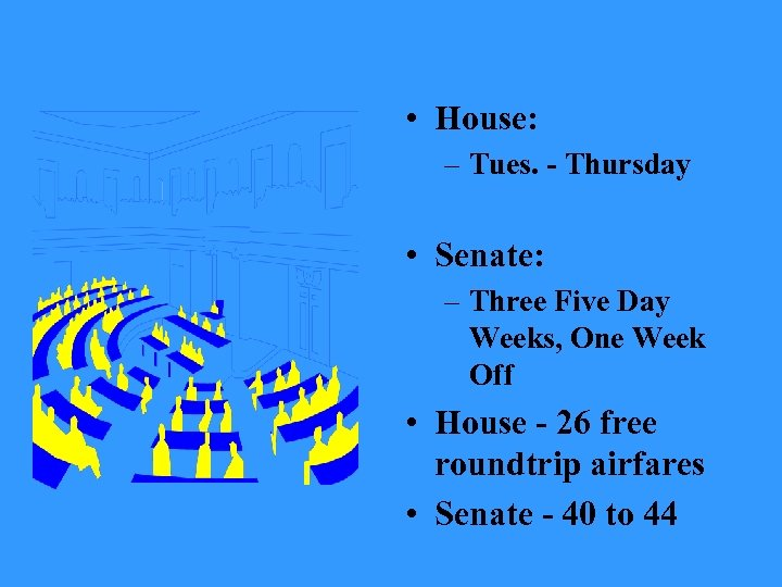 • House: – Tues. - Thursday • Senate: – Three Five Day Weeks,