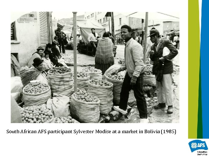 South African AFS participant Sylvester Modise at a market in Bolivia (1985)