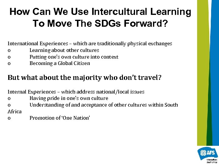 How Can We Use Intercultural Learning To Move The SDGs Forward? International Experiences –