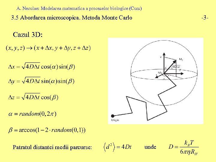 A. Neculae: Modelarea matematica a proceselor biologice (Curs) 3. 5 Abordarea microscopica. Metoda Monte