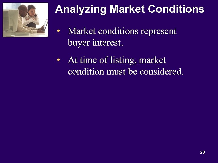 Analyzing Market Conditions • Market conditions represent buyer interest. • At time of listing,