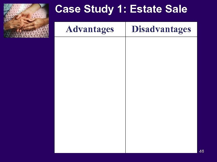 Case Study 1: Estate Sale Advantages Disadvantages 46