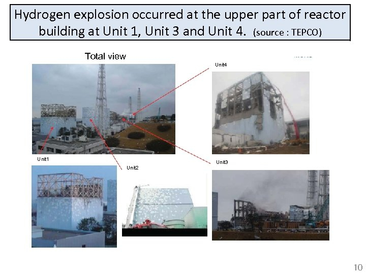 Hydrogen explosion occurred at the upper part of reactor building at Unit 1, Unit