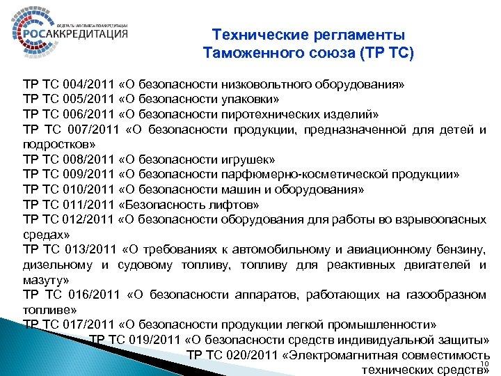 Технические регламенты Таможенного союза (ТР ТС) ТР ТС 004/2011 «О безопасности низковольтного оборудования» ТР