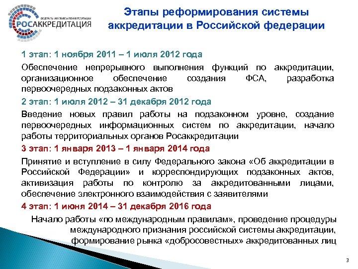 Этапы реформирования системы аккредитации в Российской федерации 1 этап: 1 ноября 2011 – 1