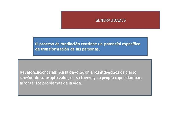 GENERALIDADES El proceso de mediación contiene un potencial específico de transformación de las personas.