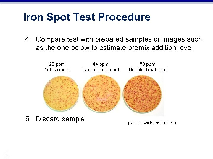 Iron Spot Test Procedure 4. Compare test with prepared samples or images such as