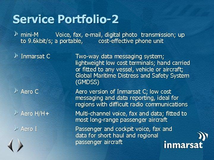 Service Portfolio-2 mini-M Voice, fax, e-mail, digital photo transmission; up to 9. 6 kbit/s;