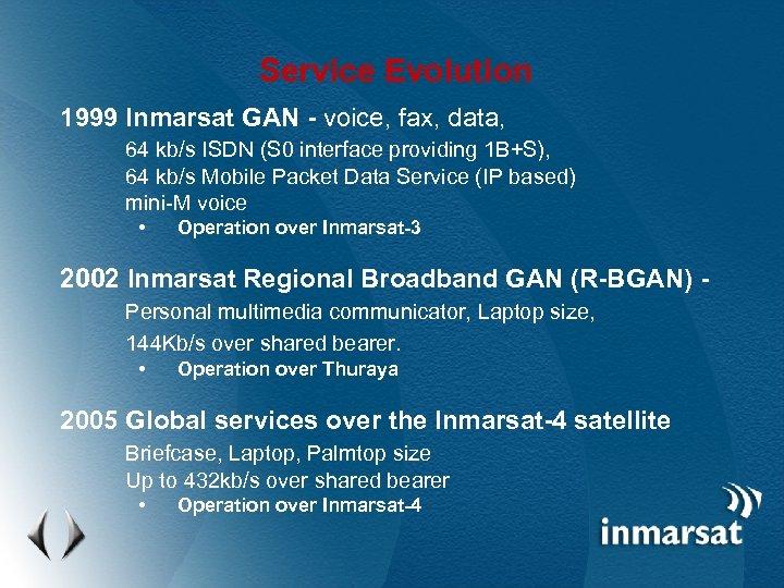 Service Evolution 1999 Inmarsat GAN - voice, fax, data, 64 kb/s ISDN (S 0