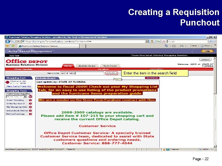Creating a Requisition Punchout Enter the item in the search field Page - 22
