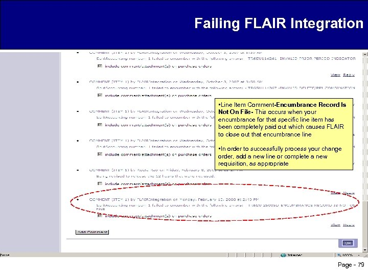 Failing FLAIR Integration • Line Item Comment-Encumbrance Record Is Not On File- This occurs