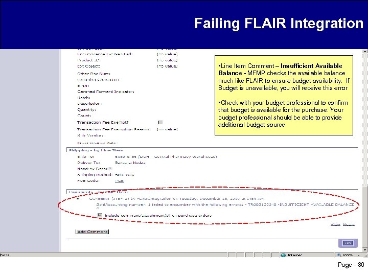 Failing FLAIR Integration • Line Item Comment – Insufficient Available Balance - MFMP checks