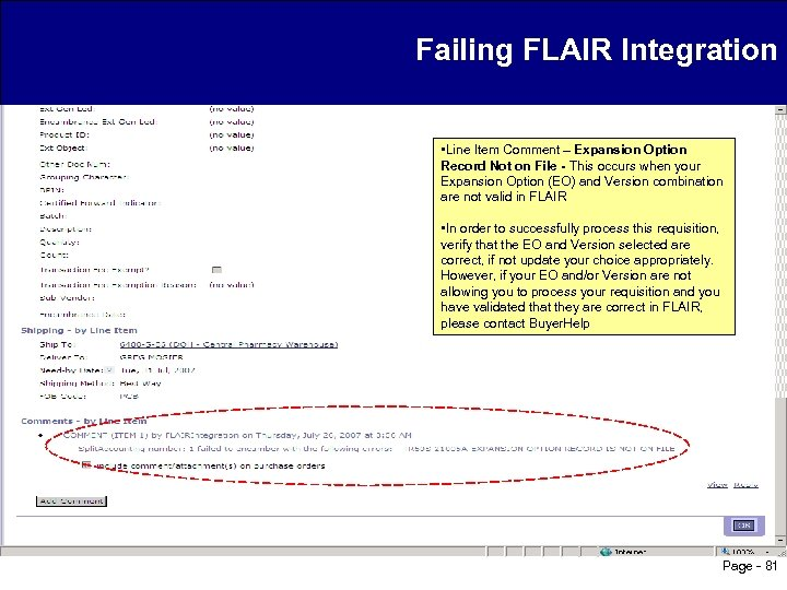Failing FLAIR Integration • Line Item Comment – Expansion Option Record Not on File