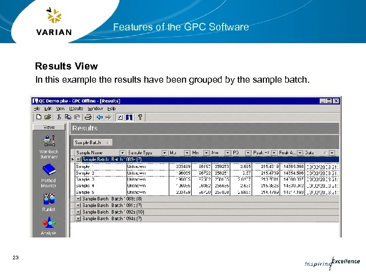 Features of the GPC Software Results View In this example the results have been