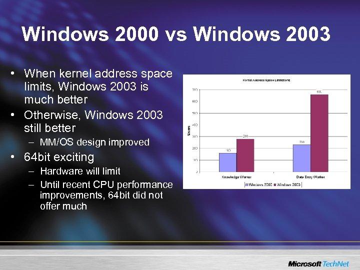 Windows 2000 vs Windows 2003 • When kernel address space limits, Windows 2003 is