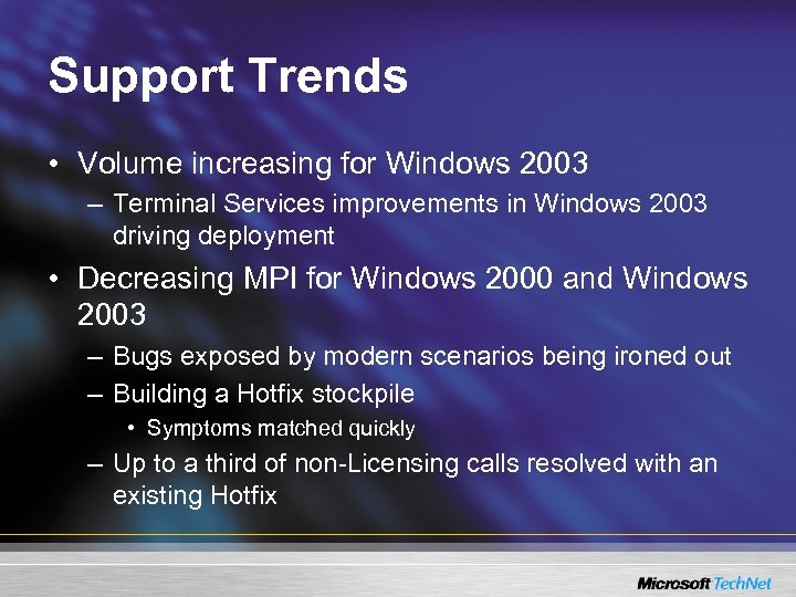 Support Trends • Volume increasing for Windows 2003 – Terminal Services improvements in Windows