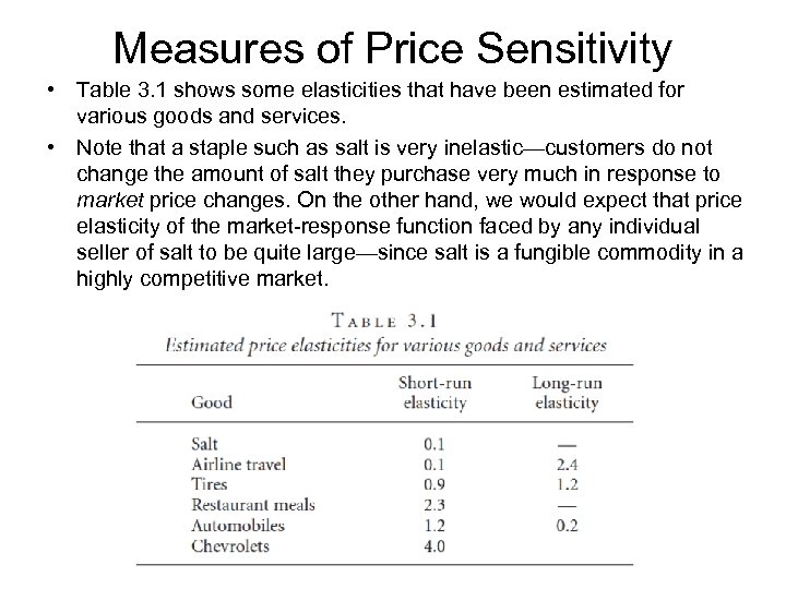 Measures of Price Sensitivity • Table 3. 1 shows some elasticities that have been
