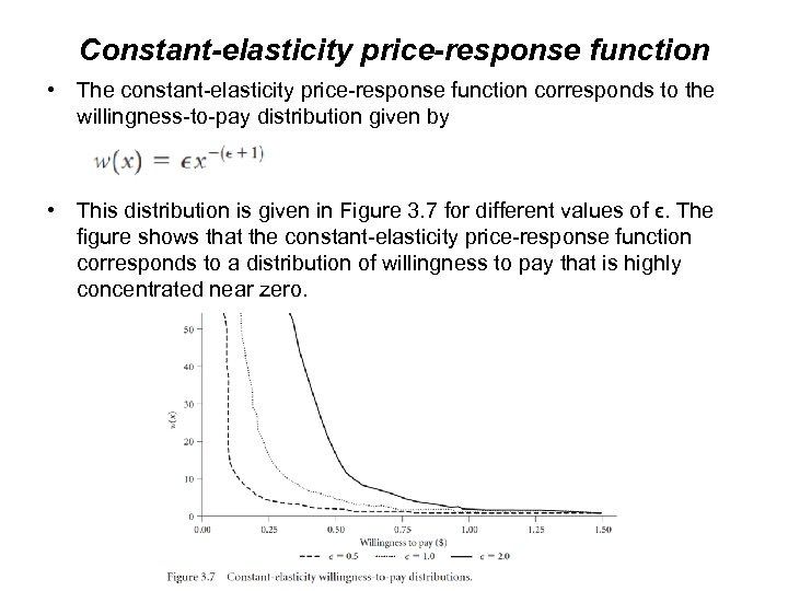 Constant-elasticity price-response function • The constant-elasticity price-response function corresponds to the willingness-to-pay distribution given