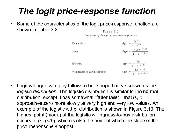 The logit price-response function • Some of the characteristics of the logit price-response function