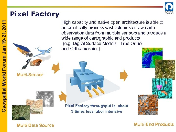 Geospatial World Forum Jan 19 -21, 2011 Pixel Factory High capacity and native open
