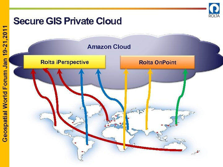Geospatial World Forum Jan 19 -21, 2011 Secure GIS Private Cloud Amazon Cloud Rolta