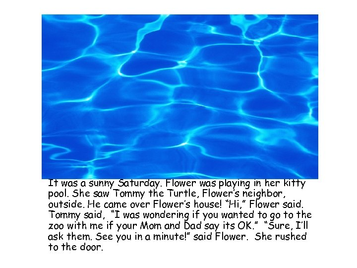 It was a sunny Saturday. Flower was playing in her kitty pool. She saw