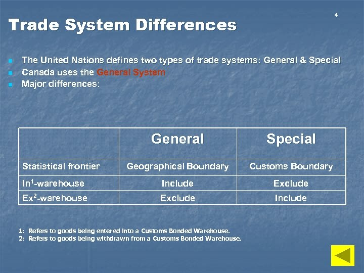 4 Trade System Differences n n n The United Nations defines two types of