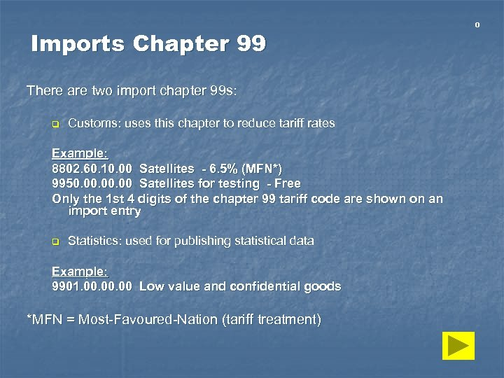 Imports Chapter 99 There are two import chapter 99 s: q Customs: uses this