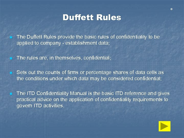 0 Duffett Rules n The Duffett Rules provide the basic rules of confidentiality to
