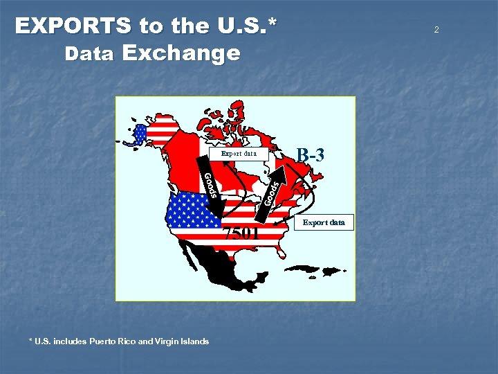 EXPORTS to the U. S. * Data Exchange B-3 Export data ods Goo 7501