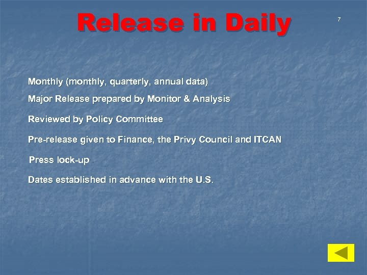 Release in Daily Monthly (monthly, quarterly, annual data) Major Release prepared by Monitor &