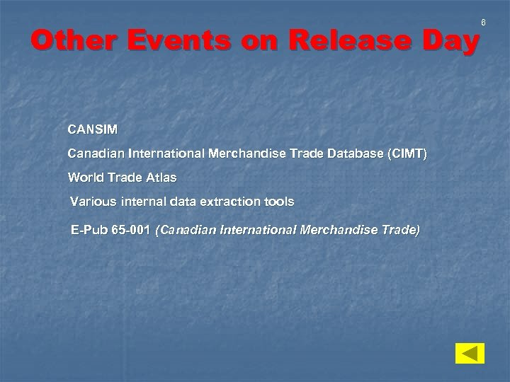 Other Events on Release Day CANSIM Canadian International Merchandise Trade Database (CIMT) World Trade