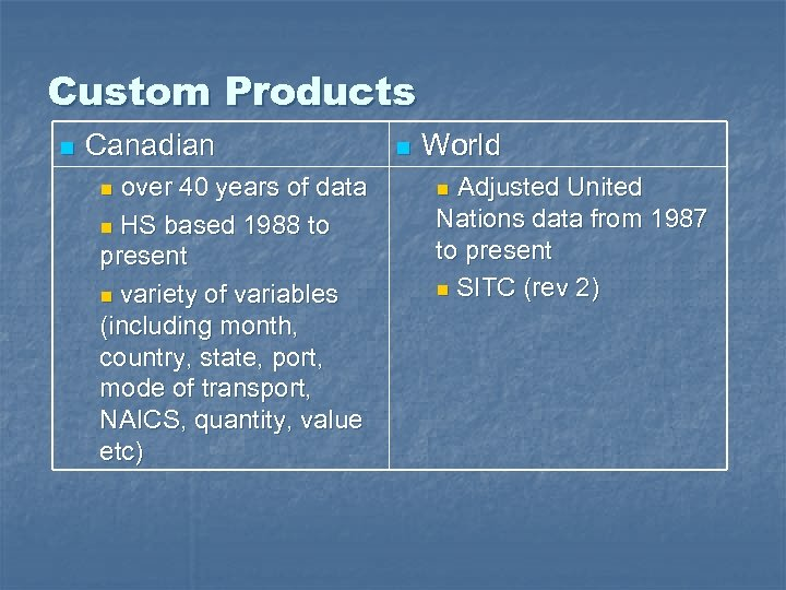 Custom Products n Canadian over 40 years of data n HS based 1988 to