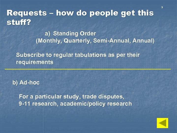 Requests – how do people get this stuff? a) Standing Order (Monthly, Quarterly, Semi-Annual,