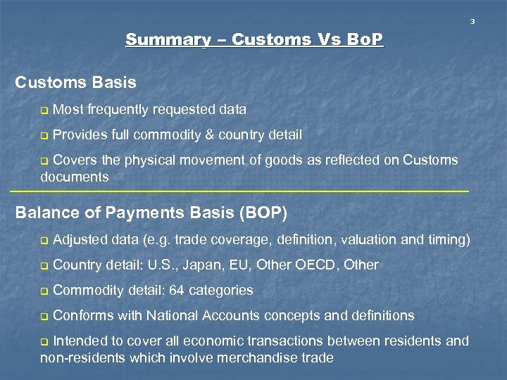 3 Summary – Customs Vs Bo. P Customs Basis q Most frequently requested data