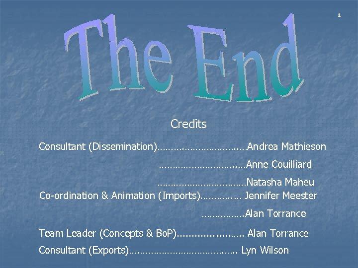 1 Credits Consultant (Dissemination)………. ………………. . …Andrea Mathieson ……………. . …Anne Couilliard ………………Natasha Maheu