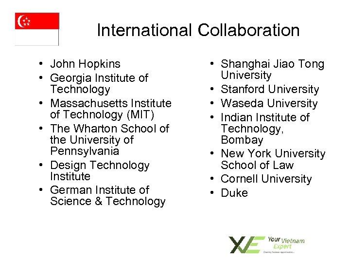 International Collaboration • John Hopkins • Georgia Institute of Technology • Massachusetts Institute of