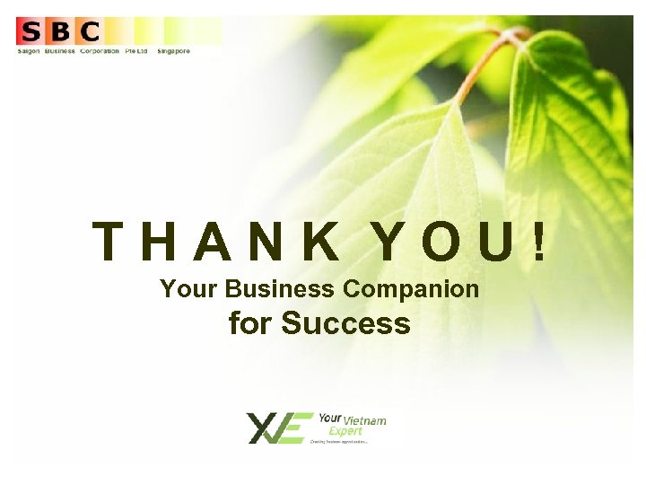 THANK YOU! Your Business Companion for Success