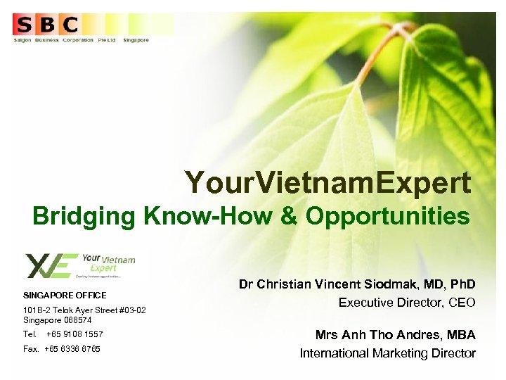 Your. Vietnam. Expert Bridging Know-How & Opportunities SINGAPORE OFFICE 101 B-2 Telok Ayer Street