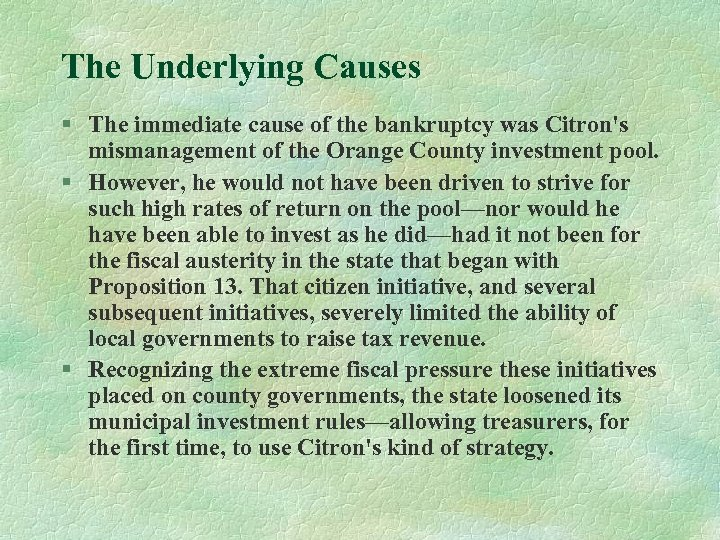 The Underlying Causes § The immediate cause of the bankruptcy was Citron's mismanagement of