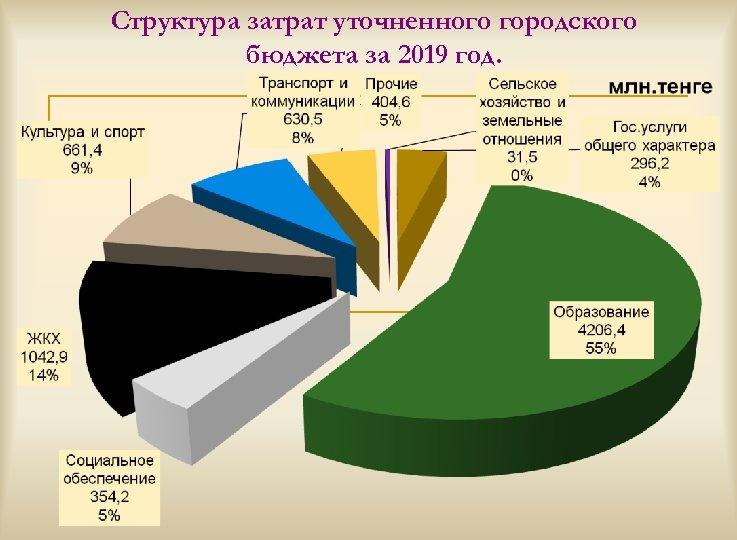 Структура затрат уточненного городского бюджета за 2019 год.