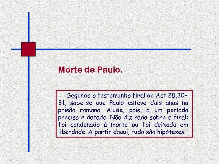 Morte de Paulo. Segundo o testemunho final de Act 28, 3031, sabe-se que Paulo